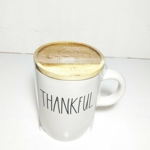 Rae Dunn Thankful Mug With Wooden Lid NEW